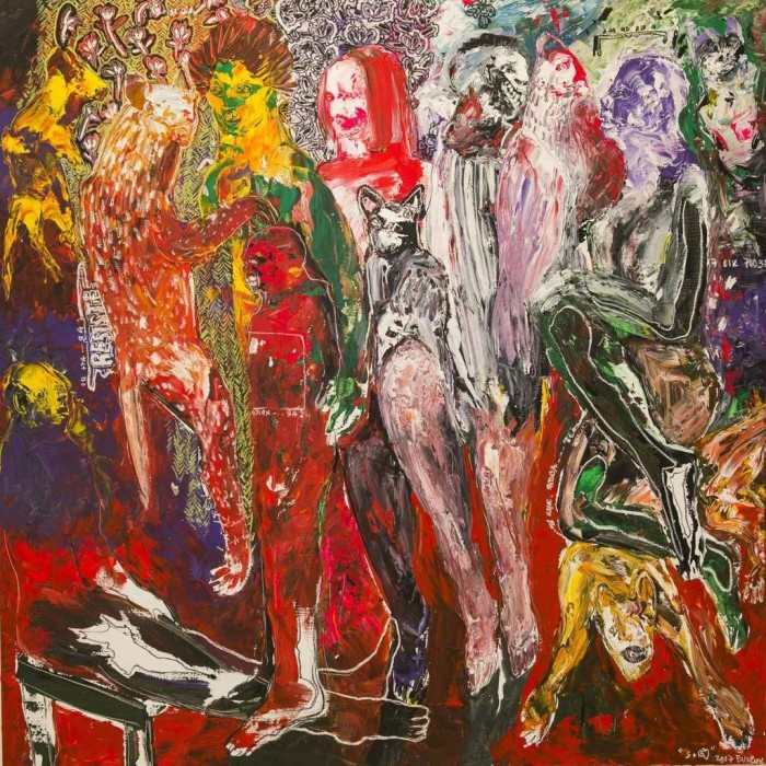 SOLY CISSE - Des Hommes et Des Vies I (2017) - acrylic and oil pastel on canvas